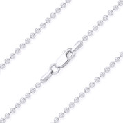 2mm Moon-Cut Ball Bead Link Italian Chain Necklace in .925 Sterling Silver w/ Rhodium Plating - CLN-BEAD26-2MM-SLW