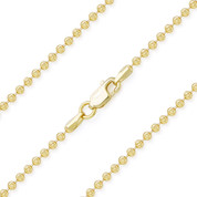 2mm Moon-Cut Ball Bead Link Italian Chain Necklace in .925 Sterling Silver w/ 14k Yellow Gold Plating - CLN-BEAD26-2MM-SLY