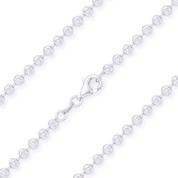 3.1mm Moon-Cut Ball Bead Link Italian Chain Necklace in .925 Sterling Silver w/ Rhodium Plating - CLN-BEAD26-3.1MM-SLW