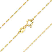 1mm (Gauge 020) Round Rolo Cable Link Italian Chain Necklace in .925 Sterling Silver w/ 14k Yellow Gold Plating - CLN-CAB1-020-SLY