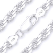 7mm (Gauge 150) Twist-Rope Diamond-Cut Link Italian Chain Necklace in Solid .925 Sterling Silver - CLN-ROPE1-150-SLP
