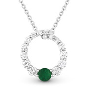 0.44ct Emerald & Diamond Journey Circle Eternity Pendant & Chain Necklace in 14k White Gold