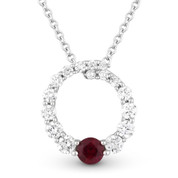 0.47ct Ruby & Diamond Journey Circle Eternity Pendant & Chain Necklace in 14k White Gold