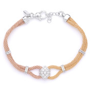 CZ Crystal Charm & Braided Wheat Link Chain Bracelet in .925 Sterling Silver w/ 14k Gold & Rhodium Plating - CLB-WHEATF2-6MM-SL2RY