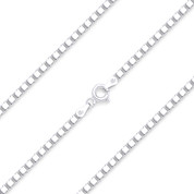 1.8mm (Gauge 036) Classic Box Link Italian Chain Necklace in Solid .925 Sterling Silver - CLN-BOX1-036-SLP