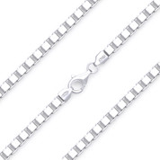 4mm (Gauge 065) Classic Box Link Italian Chain Necklace in Solid .925 Sterling Silver - CLN-BOX1-065-SLP