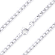 3.5mm (Gauge 300B) Rounded Mirror-Box Link Italian Chain Bracelet in Solid .925 Sterling Silver - CLB-BOX4-300B-SLP