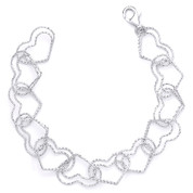15mm Double-Heart Link Charm Italian Chain Bracelet in .925 Sterling Silver w/ Rhodium Plating - CLB-CHARM3-15MM-SLW
