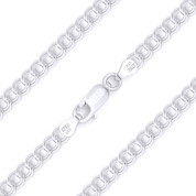 4.3mm (Gauge 060) Double-Cable Charm Link Italian Chain Necklace in Solid .925 Sterling Silver - CLN-CHARM6-060-SLP