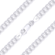 5mm (Gauge 070) Double-Cable Charm Link Italian Chain Necklace in Solid .925 Sterling Silver - CLN-CHARM6-070-SLP