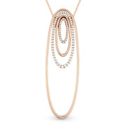 0.43ct Round Cut Diamond Pave Oval-Stack Pendant & Chain Necklace in 14k Rose Gold