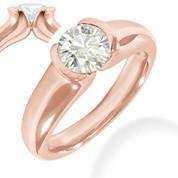 Charles & Colvard® Forever Brilliant® Round Cut Moissanite Half-Bezel Solitaire Engagement Ring in 14k Rose Gold - JC-SR 401-FB-14R