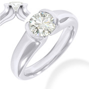 Charles & Colvard® Forever ONE® Round Brilliant Cut Moissanite Half-Bezel Solitaire Engagement Ring in 14k White Gold - JC-SR 401-FO-14W