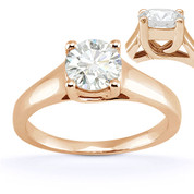 Charles & Colvard® Forever Classic® Round Brilliant Cut Moissanite 4-Prong Trellis Solitaire Engagement Ring in 14k Rose Gold - US-SR430-MS-14R