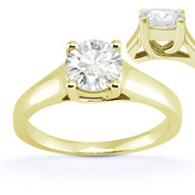 Charles & Colvard® Forever Classic® Round Brilliant Cut Moissanite 4-Prong Trellis Solitaire Engagement Ring in 14k Yellow Gold - US-SR430-MS-14Y