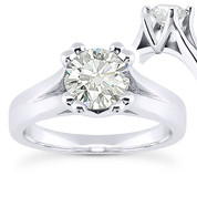 Charles & Colvard® Forever ONE® Round Brilliant Cut Moissanite 4-Prong Cathedral Solitaire Engagement Ring in 14k White Gold - US-SR433-FO-14W