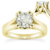 Charles & Colvard® Forever ONE® Round Brilliant Cut Moissanite 4-Prong Cathedral Solitaire Engagement Ring in 14k Yellow Gold - US-SR433-FO-14Y