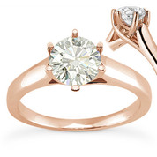Charles & Colvard® Forever Classic® Round Brilliant Cut Moissanite 6-Prong Trellis Solitaire Engagement Ring in 14k Rose Gold - US-SR6069-MS-14R