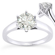 Charles & Colvard® Forever Classic® Round Brilliant Cut Moissanite 6-Prong Trellis Solitaire Engagement Ring in 14k White Gold - US-SR6069-MS-14W