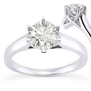 Charles & Colvard® Forever Brilliant® Round Cut Moissanite 6-Prong Trellis Solitaire Engagement Ring in 14k White Gold - US-SR6069-FB-14W