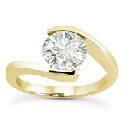 Charles & Colvard® Forever Classic® Round Brilliant Cut Moissanite Bypass Tension-Setting Solitaire Engagement Ring in 14k Yellow Gold - US-SR8947-MS-14Y