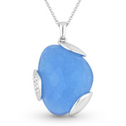 12.18ct Fancy Checkerboard Blue Jade & Round Diamond Pave Pendant & Chain Necklace in 14k White Gold