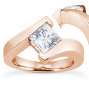 Charles & Colvard® Forever Brilliant® Square Cut Moissanite Bypass Solitaire Engagement Ring in 14k Rose Gold - US-SR8168-FB-14R
