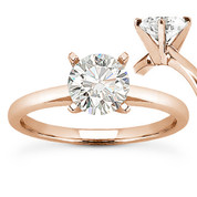 Charles & Colvard® Forever Brilliant® Round Cut Moissanite 4-Prong Solitaire Engagement Ring in 14k Rose Gold - US-SR8099-FB-14R