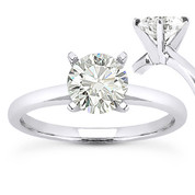 Charles & Colvard® Forever ONE® Round Brilliant Cut Moissanite 4-Prong Solitaire Engagement Ring in 14k White Gold - US-SR8099-FO-14W