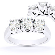 Charles & Colvard® Forever Classic® Round Brilliant Cut Moissanite 4-Prong Trellis 3-Stone Engagement Ring in 14k White Gold - US-TSR226-MS-14W