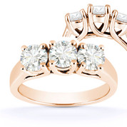 Charles & Colvard® Forever ONE® Round Brilliant Cut Moissanite 4-Prong Trellis 3-Stone Engagement Ring in 14k Rose Gold - US-TSR226-FO-14R