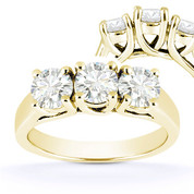 Charles & Colvard® Forever ONE® Round Brilliant Cut Moissanite 4-Prong Trellis 3-Stone Engagement Ring in 14k Yellow Gold - US-TSR226-FO-14Y