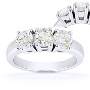 Charles & Colvard® Forever Classic® Round Brilliant Cut Moissanite 4-Prong Basket 3-Stone Engagement Ring in 14k White Gold - US-TSR2091-MS-14W