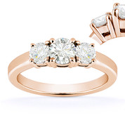 Charles & Colvard® Forever Classic® Round Brilliant Cut Moissanite 4-Prong Basket 3-Stone Engagement Ring in 14k Rose Gold - US-TSR2419-MS-14R