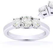 Charles & Colvard® Forever ONE® Round Brilliant Cut Moissanite 4-Prong Basket 3-Stone Engagement Ring in 14k White Gold - US-TSR2419-FO-14W