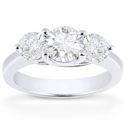 Charles & Colvard® Forever Classic® Round Brilliant Cut Moissanite 4-Prong Trellis 3-Stone Engagement Ring in 14k White Gold - US-TSR2282-MS-14W
