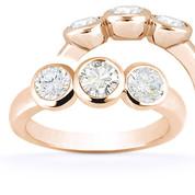Charles & Colvard® Forever Classic® Round Brilliant Cut Moissanite Bezel-Set 3-Stone Engagement Ring in 14k Rose Gold - US-TSR7661-MS-14R