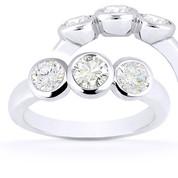 Charles & Colvard® Forever Classic® Round Brilliant Cut Moissanite Bezel-Set 3-Stone Engagement Ring in 14k White Gold - US-TSR7661-MS-14W