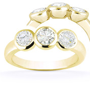 Charles & Colvard® Forever Classic® Round Brilliant Cut Moissanite Bezel-Set 3-Stone Engagement Ring in 14k Yellow Gold - US-TSR7661-MS-14Y