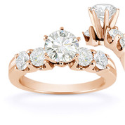 Charles & Colvard® Forever Classic® Round Brilliant Cut Moissanite 5-Stone Engagement Ring in 14k Rose Gold - US-SSR2139-MS-14R