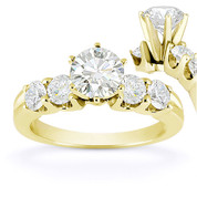 Charles & Colvard® Forever Classic® Round Brilliant Cut Moissanite 5-Stone Engagement Ring in 14k Yellow Gold - US-SSR2139-MS-14Y