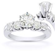 Charles & Colvard® Forever Brilliant® Round Cut Moissanite 5-Stone Engagement Ring in 14k White Gold - US-SSR2139-FB-14W