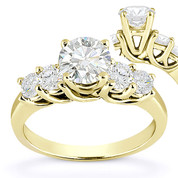 Charles & Colvard® Forever Classic® Round Brilliant Cut Moissanite 5-Stone Trellis Engagement Ring in 14k Yellow Gold - US-SSR2722-MS-14Y