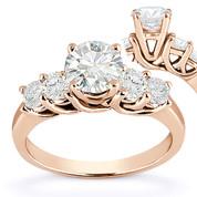 Charles & Colvard® Forever Brilliant® Round Cut Moissanite 5-Stone Trellis Engagement Ring in 14k Rose Gold - US-SSR2722-FB-14R