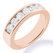 Charles & Colvard® Forever Brilliant® Round Cut Moissanite Channel-Set 7-Stone Wedding Band in 14k Rose Gold - JC-WB 1140-FB-14R