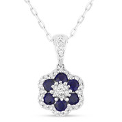 0.70ct Round Cut Lab-Created Blue Sapphire & Diamond Pave Flower Pendant & Chain Necklace in 14k White Gold