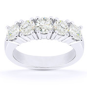 Charles & Colvard® Forever ONE® Round Brilliant Cut Moissanite 5-Stone Wedding Band in 14k White Gold - US-WR145-5-FO-14W