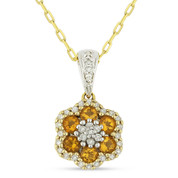 0.50ct Round Cut Citrine & Diamond Pave Flower Pendant & Chain Necklace in 14k Yellow & White Gold