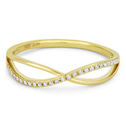 0.08ct Round Brilliant Cut Diamond Right-Hand Overlap Arch Ring in 14k Yellow Gold
