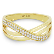 0.20ct Round Brilliant Cut Diamond Right-Hand Overlap Arch Ring in 14k Yellow Gold